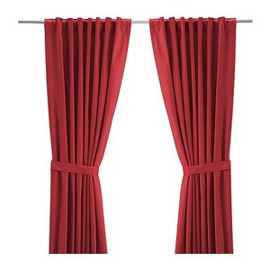 [IKEA] RITVA Pair of curtains with tie-backs 커튼 (레드) 002.109.13